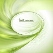picture of oval  - Abstract green waving background with oval place for text - JPG