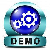Demo blue icon download button for free trial demonstration