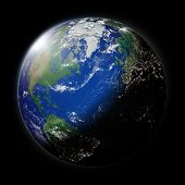 image of northern hemisphere  - Northern hemisphere on blue planet Earth isolated on black background - JPG