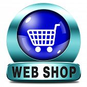 web shop icon or online shopping button for internet webshop or store blue button