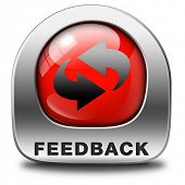 feedback or testimonials red icon or button. Publical comments for improvement and customer satisfac