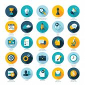 Set of flat design icons for Business, SEO and Social media marketing