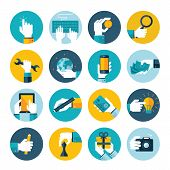 stock photo of internet-banking  - Modern flat icons vector collection of hand using various items - JPG
