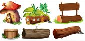 stock photo of house woods  - Illustration of the different uses of woods on a white background - JPG