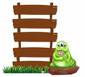Illustration of a monster beside the empty wooden boards on a white background