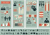 picture of gathering  - Flat Social Media Infographics plus Icon Set - JPG