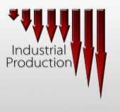 stock photo of macroeconomics  - Chart illustrating industrial production drop macroeconomic indicator concept - JPG