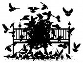 Silhouettes of a man on a bench smothered by pigeons