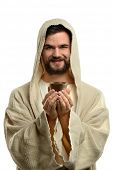 pic of communion-cup  - Jesus smiling and holding communion cup isolated over white background - JPG