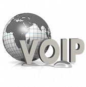 stock photo of voip  - VOIP globe and mouse image with hi - JPG