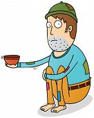 stock photo of beggars  - Illustration of a Beggar hoping for some money - JPG