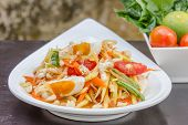 foto of green papaya salad  - green papaya salad with salted egg thai food Thai cuisine - JPG