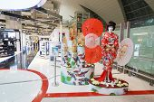 DUBAI, UAE - SEPTEMBER 26: japanese geisha mannequin in Duty Free shop in Dubai Airport on September