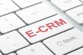 Business concept: E-CRM on computer keyboard background
