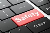 Постер, плакат: Safety concept: Safety on computer keyboard background