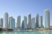 stock photo of dubai  - City skyline seen from Dubai Mall in Dubai - JPG