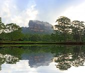 Sigiriya Castle in morning mist and clouds