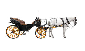 stock photo of big horse  - Horse and nice vintage coach with big yellow wheels - JPG
