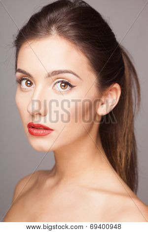 sensual closeup portrait of fashion lady with beautiful hair