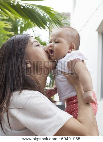 Mother Kissing On Her Baby Cheek Use For Motherhood And Infant In Warm Family