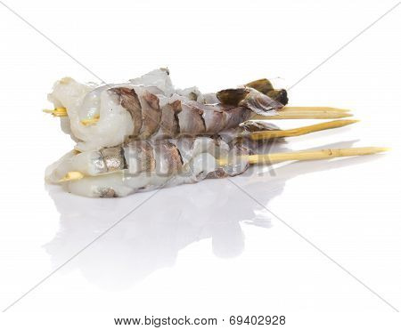 Raw Eby Shrimp Isolated On White Background. Shashlik