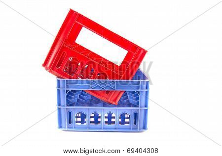 Two Colorful Plastic Storage Bottle  Isolated On White