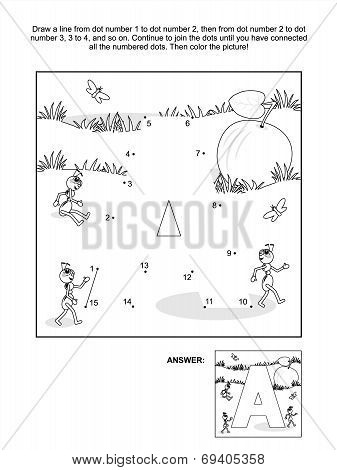 Dot-to-dot and coloring page - letter A, apple and ants