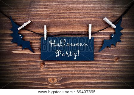 Black Label With Halloween Party On Wood