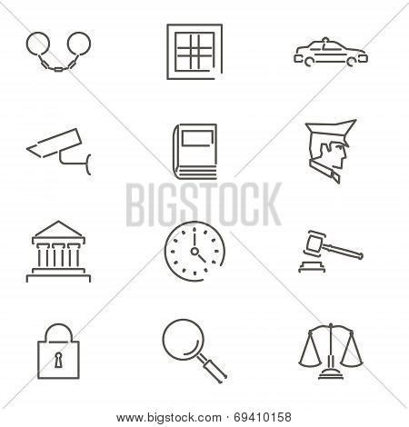 Modern Line Law Legal Justice Icons and Symbols Set for Mobile Interface Isolated Vector Illustratio