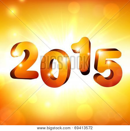 3d golden 2015 happy new year design. Vector illustration.