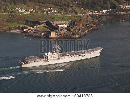 Ferrol, Spain-february 08: Aircraft Carrier Principe De Asturias In Ferrol, Spain, On February 08, 2