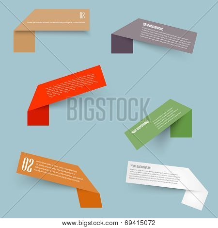 Set of blank rectangle labels with acute