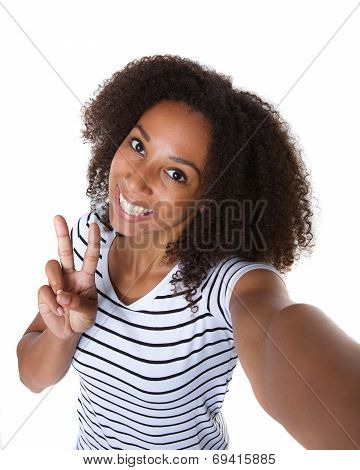 Happy Young Black Woman Making Selfie