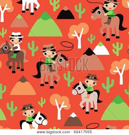 Seamless western retro cowboy and horse cacti illustration wild west kids background pattern in vector