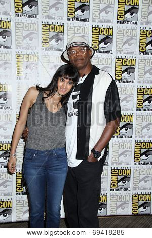 SAN DIEGO - JUL 25:  Sofia Boutella, Samuel L. Jackson at the