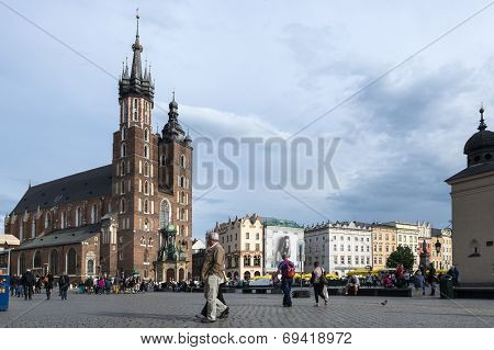 St.mary's Church In Historical Center Of Krakow.
