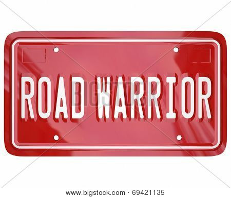 Road Warrior words on red license plate for business traveler or salesperson always on the road and away from home