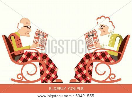 Pensioner In Chair Sitting And Reading Newspaper
