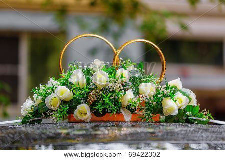 Wedding Rings Decorated With Flowers