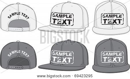 Rap cap, front, back and side view. Vector