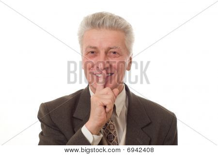 Portrait Of A Happy Senior Business Man Gesturing A Thumbs Up Isolated On White