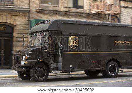 Truck delivering packages.