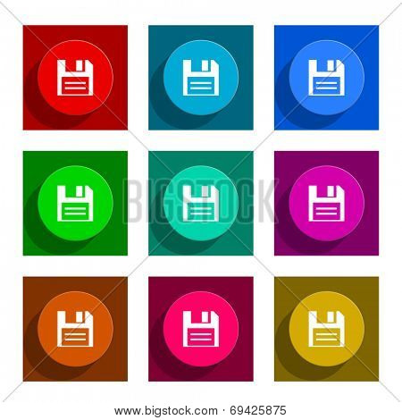 disk colorful flat icons set