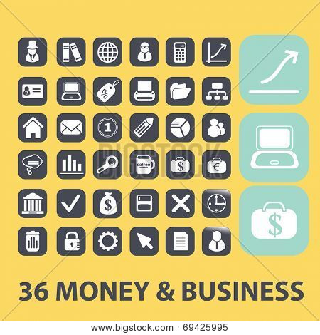 money, business, payment black flat icons, signs, symbols set, vector