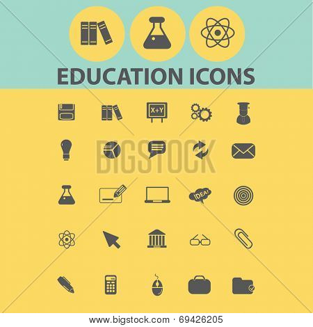 education, school, study, learning black flat icons, signs, symbols set, vector