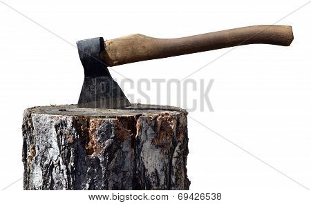 Old ax in wooden chock