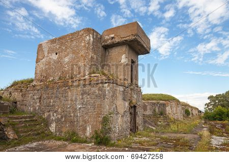 Old Concrete Bunker From Wwii Period On Totleben Fort Island In Russia
