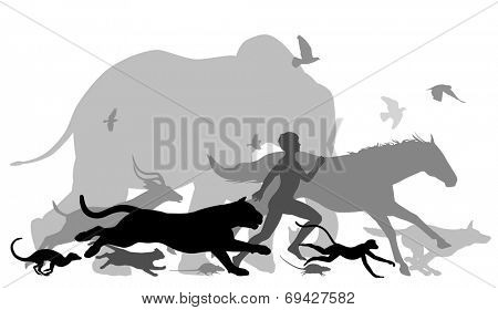 Illustrated silhouettes of a man running together with various animals