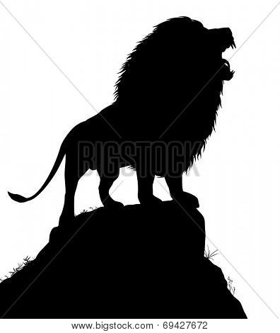 Illustrated silhouette of a roaring male lion standing on a rocky outcrop