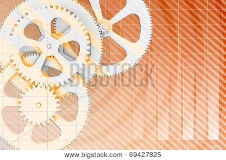 Abstract background gear wheels and chart